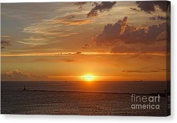 Canvas Print featuring the photograph Beautiful Sunset At Kaohsiung Harbor by Yali Shi