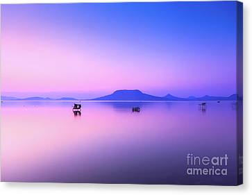 Beautiful Sunset In Lake Balaton Canvas Print