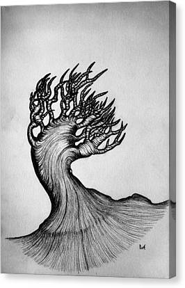 Beautiful Tree Nature Original Black And White Pen Art By Rune Larsen Canvas Print