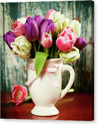 Beautiful Tulips Bouquet Canvas Print by Natalia Klenova