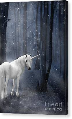Beautiful Unicorn In Snowy Forest Canvas Print