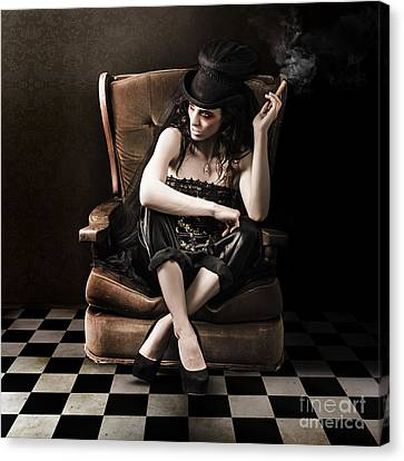 Beautiful Vintage Fashion Girl In Grunge Interior Canvas Print by Jorgo Photography - Wall Art Gallery