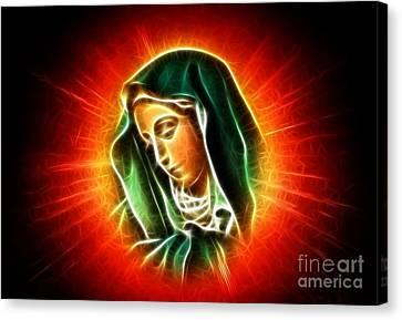 Christian Sacred Canvas Print - Beautiful Virgin Mary Portrait by Pamela Johnson