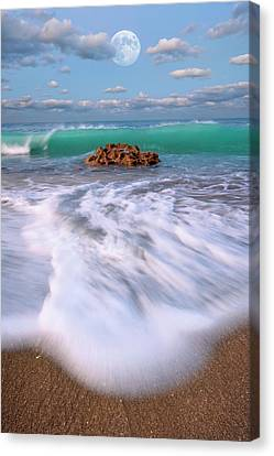 Beautiful Waves Under Full Moon At Coral Cove Beach In Jupiter, Florida Canvas Print by Justin Kelefas