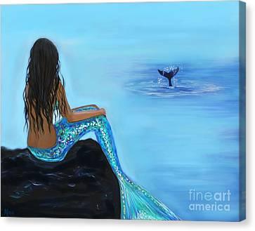 A Beautiful Whale Watcher Canvas Print by Leslie Allen