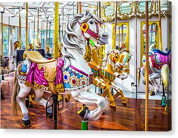Beautiful White Carrousel Horse Canvas Print by Garry Gay