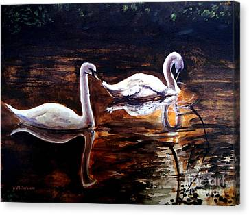 Canvas Print featuring the painting Beautiful White Swans by Patricia L Davidson