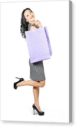 Beautiful Woman Holding Shopping Bags With Smile Canvas Print by Jorgo Photography - Wall Art Gallery