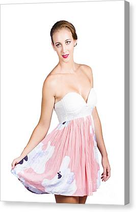 Youthful Canvas Print - Beautiful Woman In Pink Floral Dress by Jorgo Photography - Wall Art Gallery