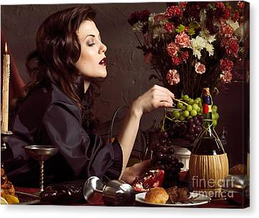 Beautiful Woman On A Festive Table Canvas Print by Oleksiy Maksymenko