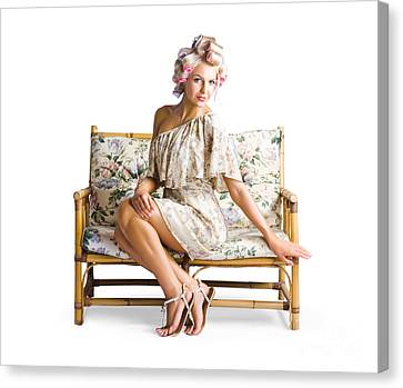 Beautiful Woman On Couch Canvas Print by Jorgo Photography - Wall Art Gallery