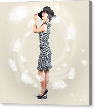 Beautiful Woman Wearing Retro Fashion Accessories Canvas Print by Jorgo Photography - Wall Art Gallery