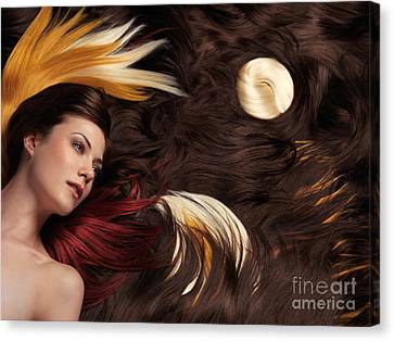 Beautiful Woman With Colorful Hair Extensions Canvas Print by Oleksiy Maksymenko