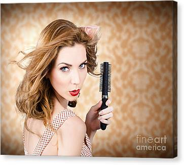 Beautiful Woman With Short Red Hair. Hairdressing Canvas Print