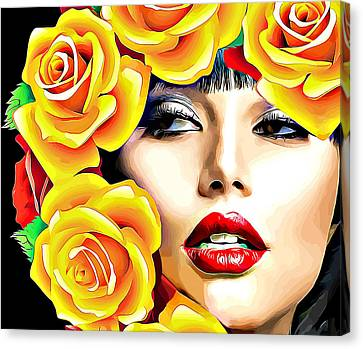 Beautiful Woman Yellow Roses Pop Art Canvas Print