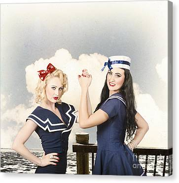Hairstyle Canvas Print - Beautiful Women With Pinup Hairstyle And Makeup by Jorgo Photography - Wall Art Gallery