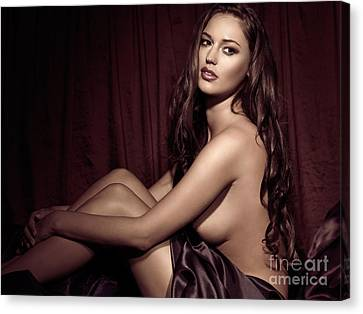 Beautiful Young Woman Sitting Naked In Bed Canvas Print by Oleksiy Maksymenko