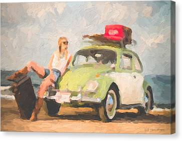 Canvas Print featuring the digital art Beauty And The Beetle - Road Trip No.1 by Serge Averbukh