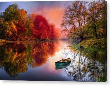 Rowboat Canvas Print - Beauty At The Lake by Debra and Dave Vanderlaan