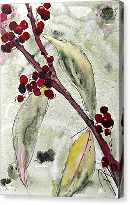 Beauty Berry Branch Canvas Print by Dawn Derman