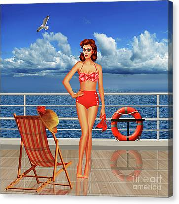 Beauty From The 50s In Bikini  Canvas Print by Monika Juengling