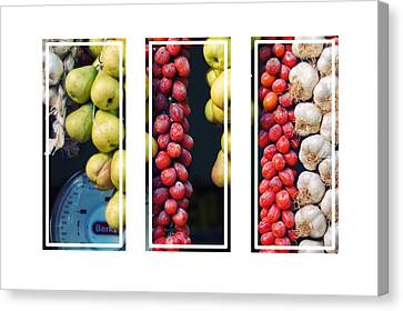 Beauty In Tomatoes Garlic And Pears Triptych Canvas Print by Silvia Ganora