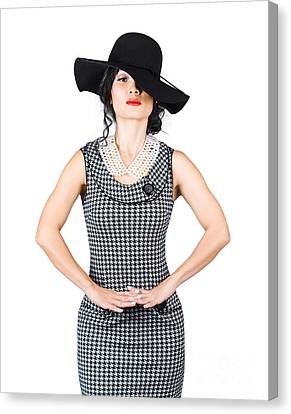 Beauty Model Posing In Classy Outfit With Hat Canvas Print by Jorgo Photography - Wall Art Gallery