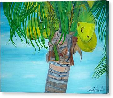 Canvas Print featuring the painting Beauty Of A Coconut Palm Tree by Nicole Jean-louis