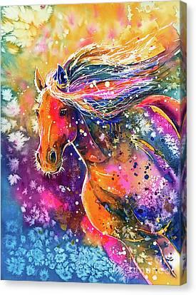 Canvas Print featuring the painting Beauty Of The Prairie by Zaira Dzhaubaeva