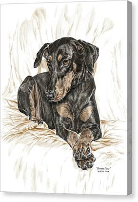Beauty Pose - Doberman Pinscher Dog With Natural Ears Canvas Print