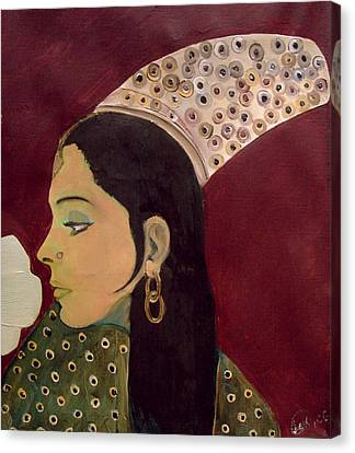 Canvas Print featuring the mixed media Beauty Queen Of The Mughals by Saad Hasnain