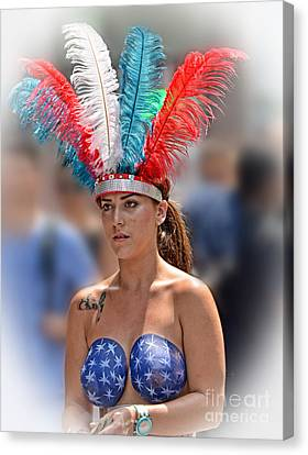 Beauty With A Feathered Headdress II Canvas Print by Jim Fitzpatrick