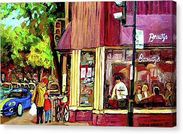 Beautys Luncheonette Montreal Diner Canvas Print by Carole Spandau