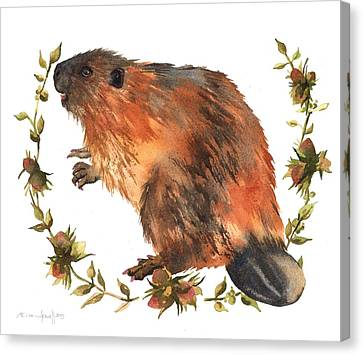 Beaver Painting Canvas Print by Alison Fennell