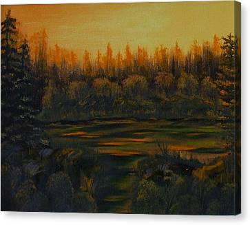 Beaver Pond At Sunset Canvas Print by Rebecca  Fitchett