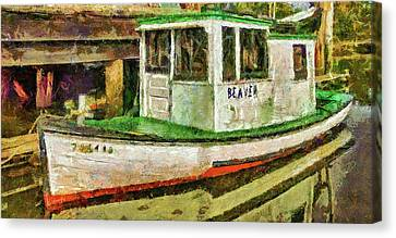 Canvas Print featuring the photograph Beaver The Old Fishing Boat by Thom Zehrfeld