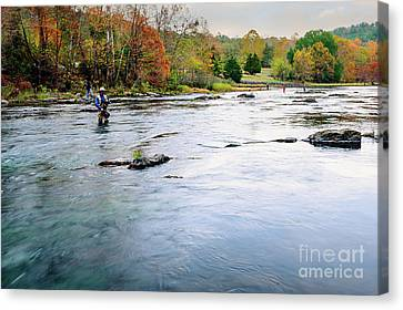 Beaver's Bend Fly Fishing Canvas Print by Tamyra Ayles