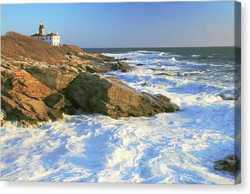 Beavertail Point And Lighthouse  Canvas Print by Roupen  Baker