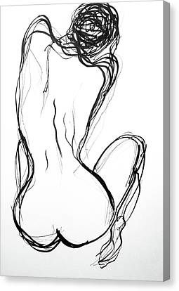 Canvas Print featuring the drawing Because The Night by Jarko Aka Lui Grande