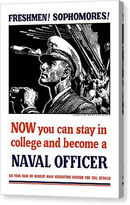Become A Naval Officer Canvas Print by War Is Hell Store