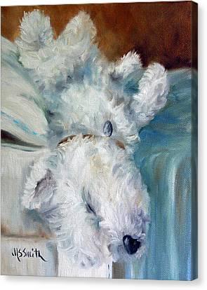 Bed Hog Canvas Print by Mary Sparrow