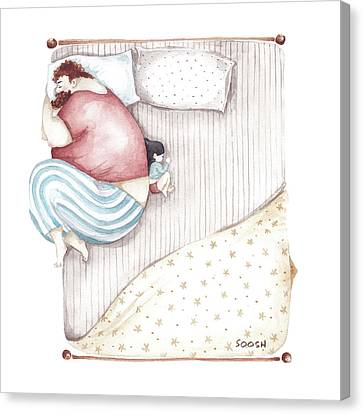 Illustrations Canvas Print - Bed. King Size. by Soosh