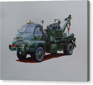 Canvas Print featuring the painting Bedford Wrecker Afs by Mike Jeffries