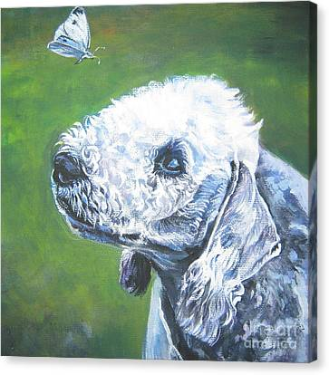 Bedlington Terrier With Butterfly Canvas Print