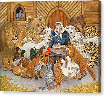Bedtime Story On The Ark Canvas Print by Ditz