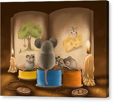 Candle Lit Canvas Print - Bedtime Story by Veronica Minozzi