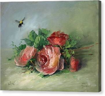 Bee And Roses On A Table Canvas Print by David Jansen