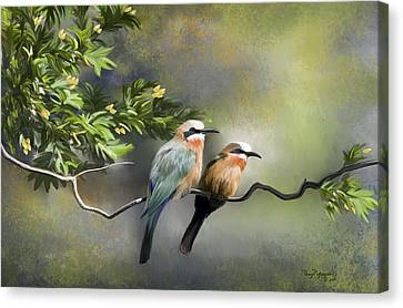 Canvas Print featuring the digital art Bee-eater Birds by Thanh Thuy Nguyen
