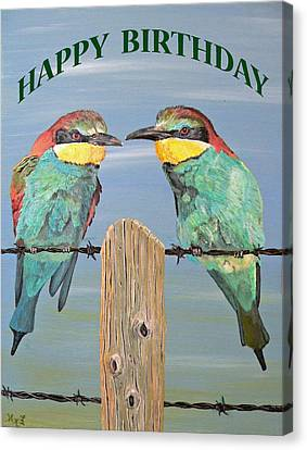 Bee Eaters Happy Birthday Canvas Print by Eric Kempson