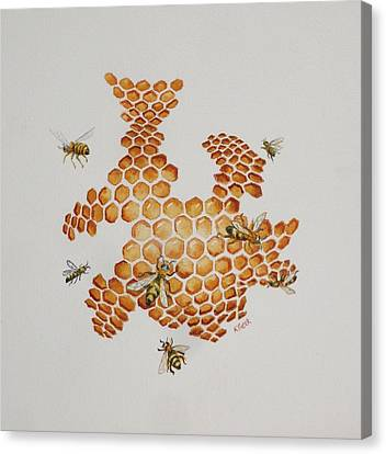Canvas Print featuring the painting Bee Hive # 1 by Katherine Young-Beck